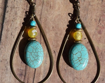 Bohemian Antique Bronze and Turquoise Teardrop Earrings, Bohochic
