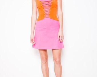 S.U.P.E.R SALE was 375 now 200 vibrant VINTAGE 80s Thierry MUGLER cotton linen corset lacing halter panel party dress