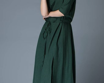 Spring Summer Dress - Emerald Green Loose-Fitted Layered Long Length Woman's Dress with Half Sleeves C806