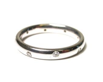 14k White Gold Diamond Band - 8 Diamond Ring - Size 5.5 - Anniversary Ring - Wedding - Promise Ring # 916