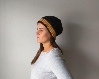 Black Beanie Cap / Black Hat / Honey Gold Hat / Football Hat / Crochet Hat Women / Modern Clothes / Indie Clothes / Slouchy Hat