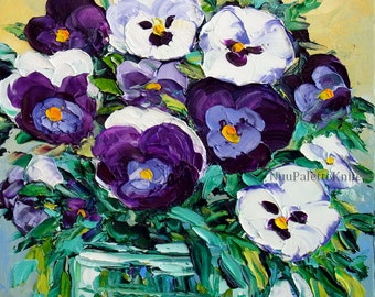 Original Oil Painting Pansy Purple Flower Floral Still Life Painting Palette Knife Impasto Textured Canvas Small Art for Mother Her 8x8