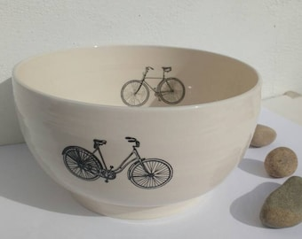 Pottery Serving Bowl Fruit bowl with Bicycles  Cream White Ceramics Handmade in UK