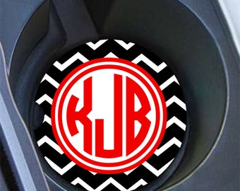 Preppy monogram car coaster, Black chevron with red, Personalized auto cup holder coaster, Custom car decor, Red car decoration women (1438)