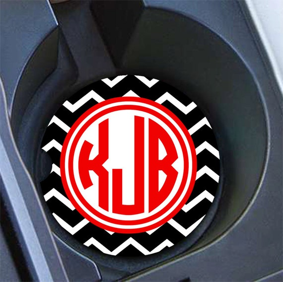 Preppy Monogram Car Coaster Black Chevron With Red