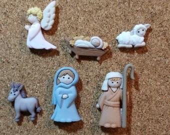 Nativity Set Push Pins or Magnets