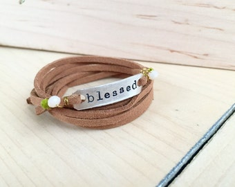Blessed brown leather wrap bracelet