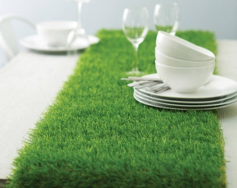 Artificial grass table runner, mad hattter table decorations, Alice in wonderland birthday ideas, party ~ contemporary table setting, soccer