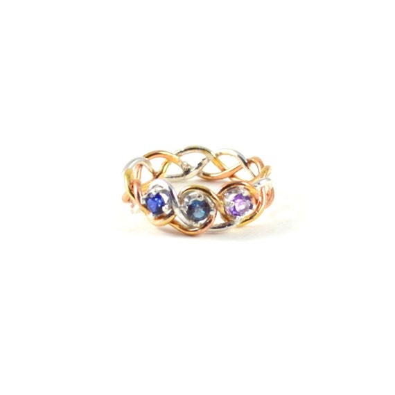 Three Stone Braided Ring - Your choice of Gemstones - Mother Daughter Ring - Sisters -  Tri Color Braid