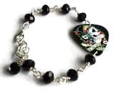 Day of the Dead Bracelet, Plectrum Bracelet, Guitar Pick Bracelet, Goth, Dia de los Muertos, Alternative Jewellery