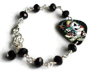 Day of the Dead Bracelet - Plectrum Bracelet - Guitar Pick Bracelet - Goth Girl Gifts - Dia de los Muertos - Alternative Jewellery