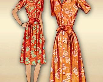 1940s Dress Pattern Simplicitity 4308 Swing Era Day Dress with Waistline Interest Button Closure 32 Bust 40s Uncut Pattern