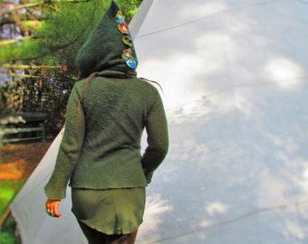 Livin'Green! Wool Hood with Velvet Tassles and Polar Fleece Liner...Gnome, Fairy, Forrest Dweller