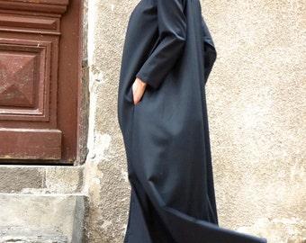 New Maxi Dress / Black Kaftan/ Long Sleeves / Side Pockets / Extravagant Long  Dress / Party Dress / Daywear Dress by AAKASHA A03331