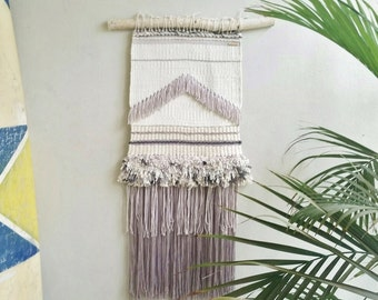 Woven Wall Hanging - Weaved Wall Fiber Art - Wall Tapestry on Natural Fibers - Birchwood - Home Interior Decor