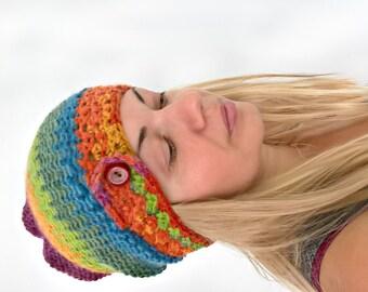 Rainbow SLOUCHY beanie women wool hat OAK women beanie colorful button knit hat crochet winter hat for women, gift for girl women