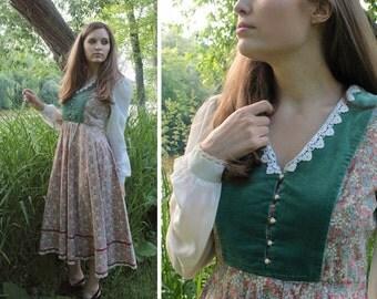 Vintage Prairie Dress TEA Length Lace Trim long sleeved MICROFLORAL Printed Cotton Country Western Women 70s Hippie Festivals Folk Frock S/M