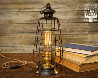 Edison Lantern Table Lamp - Desk Lamp - Night Light - Bed Light - Industrial - Edison Bulb - Lantern - Home Accent - Steampunk - Lamp
