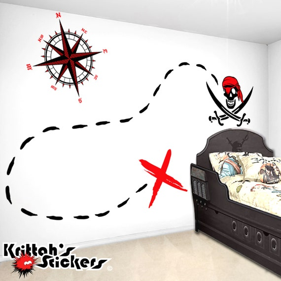 X Marks The Spot Pirate Treasure Map Diy Wall Mural Vinyl