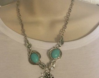 Sliver and  turquoise Cameo Necklace/Free Shipping