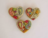Jeweled Rustic Paisley Hearts Magnets, Decorative Magnet set of 3, polymer clay Hearts, Boho Heart Magnets