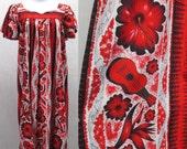 Vintage 50's ROBERTA LYNN of HOLLYWOOD Red Black MuuMuu Hawaiian Shift Dress M