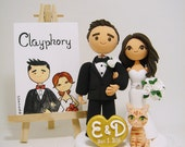 Cute couple wedding cake topper with the cat
