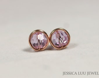Rose Gold Lavender Stud Earrings Wire Wrapped Jewelry Rose Gold Earrings Swarovski Crystal Earrings Swarovski Crystal Jewelry Rose Gold Stud