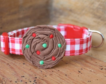 Christmas Cookie Dog Collar - Red Gingham with Brown Cookie and Red/Green Toppings