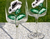 Hand Painted Wine Glasses With Black And White Flowers And Crystal Wine Glass Charms, Gifts For Her, Mothers Day Gift, Birthday Gift