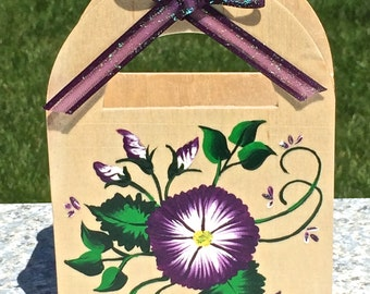 Hand Painted Gift Bag, Gift Card Holder With Flowers , Any Occasion Gift Box, Painted Gift Box