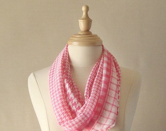 Free Shipping, New For Spring. Pale Pink and White Infinity Scarf Blue Mixed Pattern Houndstooth and Plaid Chiffon Scarf
