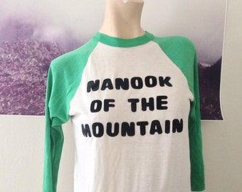 vintage ringer nanook of the mountain (is over the hill) long-sleeved tshirt