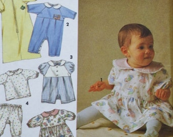 Infants Sewing Pattern /Babies Layette /Sewing Pattern/ Dress/ Panties /Romper/ Sacque / Bib /Simplicity 8089 / Weight 7 to 21 Pounds