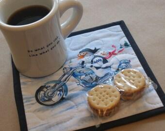 Chopper Motorcycle Snowman Mug Rug, Snack Mat, Fabric Coaster, Pot Holder, Trivet, Secret Santa, Gifts Under 10, Winter, Hostess Gift