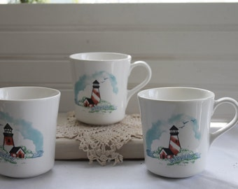 Corelle Corning Lighthouse Coffee Cups
