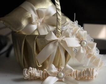 Gold Flower Girl Basket + Ring bearer Pillow + Bridal Garters Set \ Gold Wedding Pillow Basket Garters Set \ Ivory Ring Pillow Basket