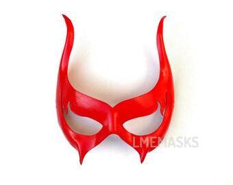 Scarlet Red Devil Leather Mask Masquerade Sexy Halloween Vampire Venetian Satan Horns Cosplay Erotic Heroine Demon Fetish Costume Mardi gras