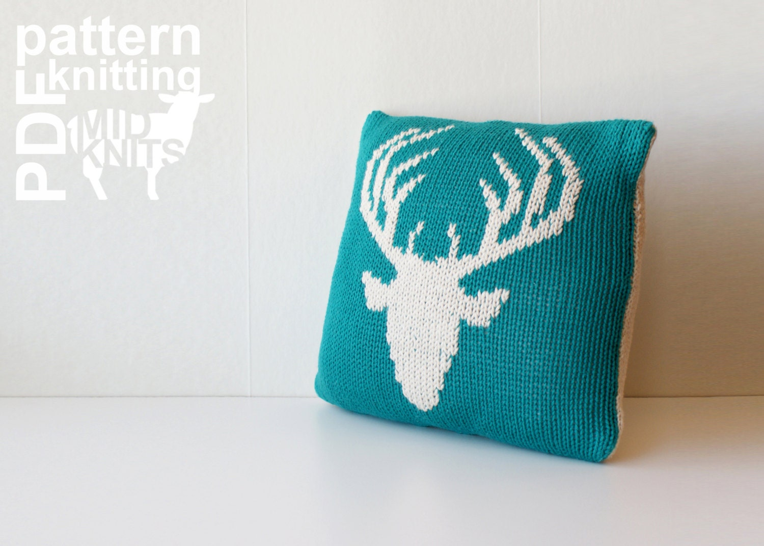 DIY Knitting PATTERN - Stag Head Stockinette Throw Pillow - 12