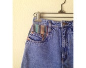 1990s High Waist Jean Shorts with Striped Details, Rio, Vintage Size 3, Hipster, Cute Shorts, Size XS