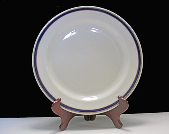 Sterling China Restaurant Ware Gold and Cobalt Blue Lines - Chop Plate
