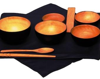 Mango Wood Black/Natural Oryoki Jihatsu Bowl Sets