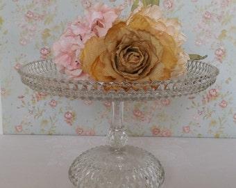 Glass Cake Stand / Wedding Cake Stand / Vintage Glass Cake Stand
