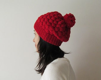 Hand Knitted Bubble Hat in Red - Slouch Hat with Pom Pom - Seamless Winter Hat - Wool Blend - Ready to Ship