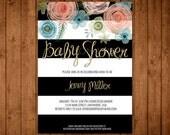 Printable Little Girl Baby Shower Invitation. Modern Baby Shower. Flowers. It's a Girl. Glitter. Stripes. Black and White.