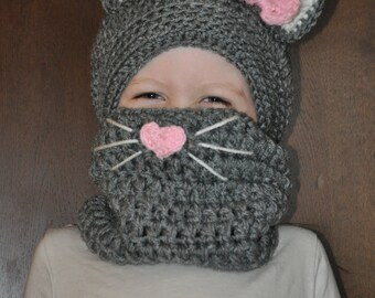 Crochet baby, toddler, or kids slouchy kitty cat hat with whiskers cowl