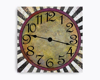 Retro mossy green speckled wall clock with fuchsia ring and black and white rays. Square design.