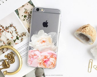 iPhone 7 Case Peonies Clear Rubber Case iPhone 7 Plus Clear Case iPhone 6 Clear Case iPhone 6S Case iPhone SE Case Samsung S7 Edge Case U145