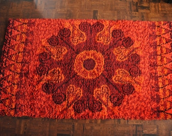 "Abstract 64"" x 36"" Rya Rug Vintage in Red Pink Orange Danish Modern"