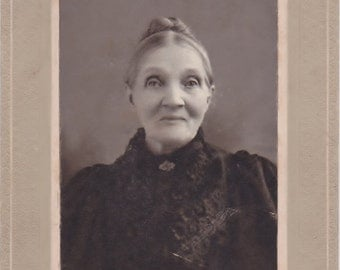 Antique Cabinet Card Photo of Creepy Old Lady From St. Louis Missouri